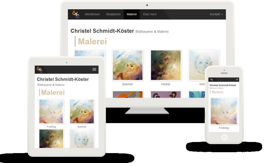 Tanja Heinzmann - Refonte complète du site web cksart.de, Ergonomie et Identité visuelle, SEO, Christel Schmidt-Köster Hamburg
